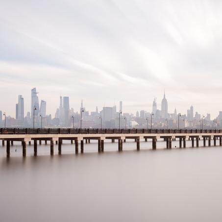 Pier with Lanterns, Skyline New York, Manhattan, USA