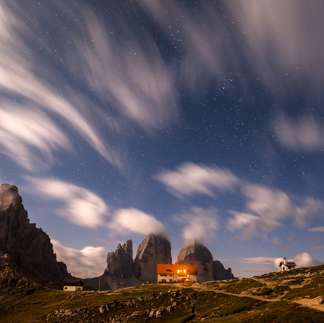 Mountain Hut under Tre Cime, Tre Cime di Lavaredo, Dolomites, Italy