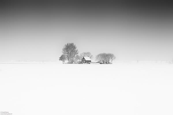 Huis in de Sneeuw, Zeeuws-Vlaanderen, Nederland