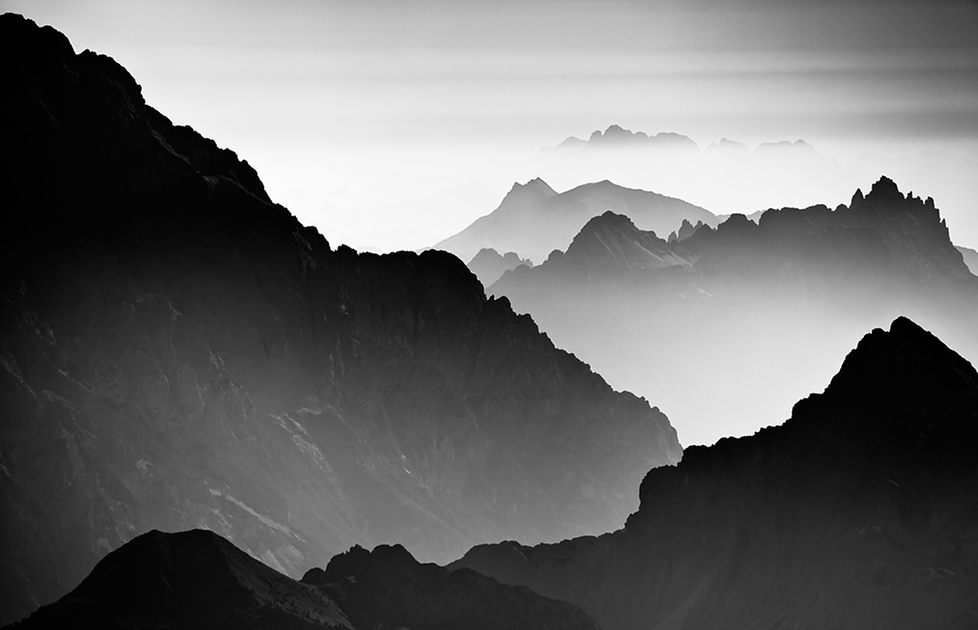 Dolomites mountain landscape seen from Marmolada. The Dolomites are part of the Alps and Italy.