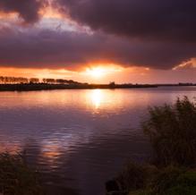 Sunset over the Nieuwkerkse Kreek, Groede, Zeeuws-Vlaanderen, The Netherlands
