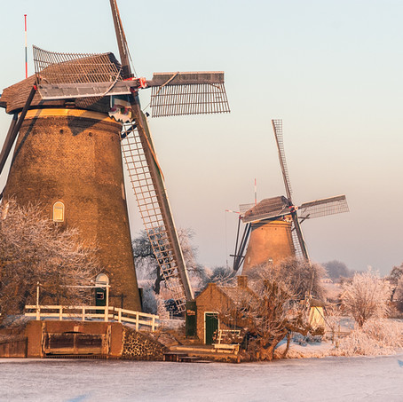 Dutch Winter Landscape, Kinderdijk, Zuid-Holland, The Netherlands