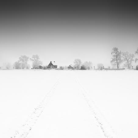 Dutch Dike in Snow, Zeeuws-Vlaanderen, Netherlands