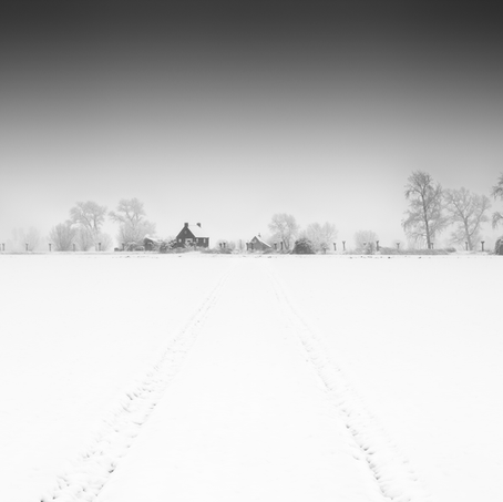 Dutch Dike in Snow, Zeeuws-Vlaanderen, Netherlands, 2019