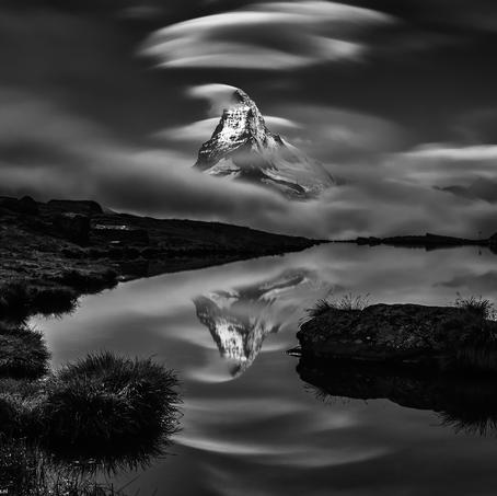 Dawn Mountain, Matterhorn in Stellisee, Wallis, Switzerland, 2014