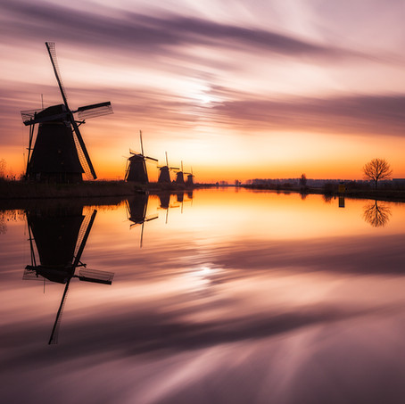 Windmills at Sunrise, Molenkade, Kinderdijk, The Netherlands