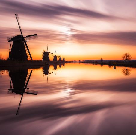 Windmills at Sunrise, Molenkade, Kinderdijk, The Netherlands