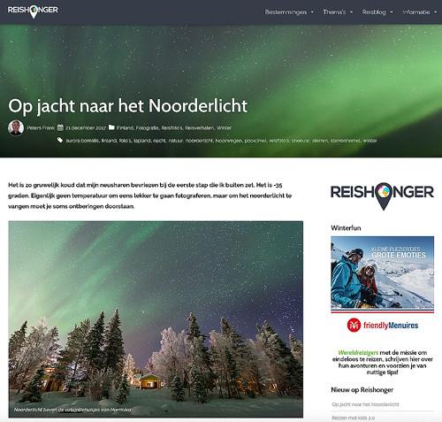 Article Northern Lights published on Travel Blog