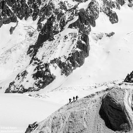 The three Climbers, Aiguille du Midi, Mont Blanc Massive, France, 2014