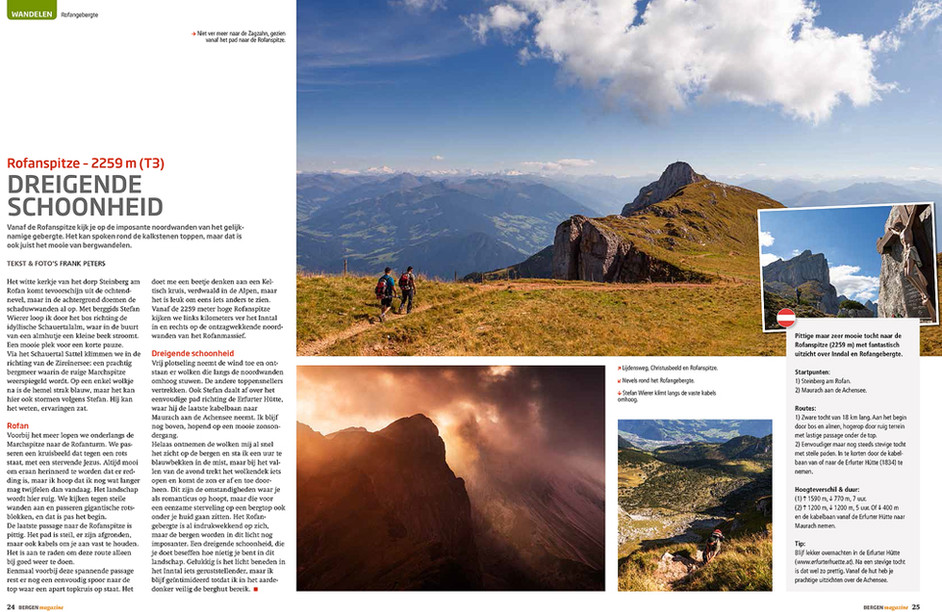 Article Rofanspitze published in Bergen Magazine