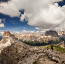 Hikers under Clouds, Nuvolau, Dolomites, Italy