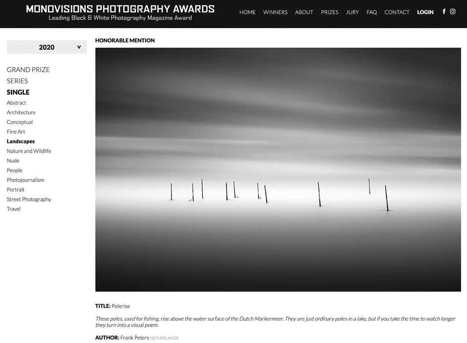 Honorable Mention in Monovisions Photography Awards