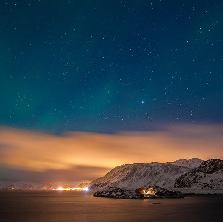 Patches of Northern Lights, Honningsvag, Finnmark, Norway
