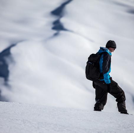 Mountain Guide in the Snow, Motta Naluns, Unterengadin, Switzerland