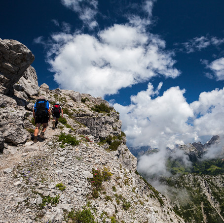 Land, Clouds and Hikers, Bellunese Dolomites National Park, Belluno, Italy
