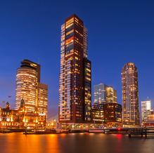 Skyline Rotterdam, Rijnhavenbrug with Hotel New York and Montevideo, The Netherlands, 2015