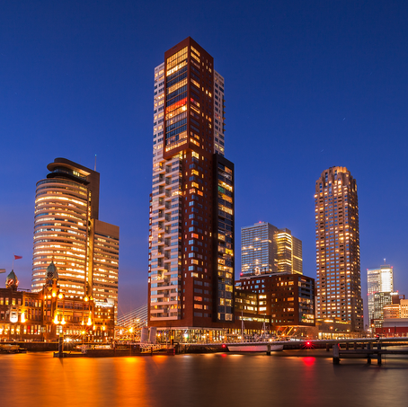 Skyline Rotterdam, Rijnhavenbrug with Hotel New York and Montevideo, The Netherlands, 2015