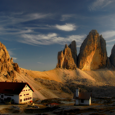 At the Origen of Light, Rifugio Locatelli with Tre Cime di Lavaredo, Dolomites, Italy