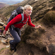 Cath Lee on her way to the top, Kinderscout, Peak District, England