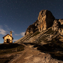 Light in the Darkness, Chapel and Toblinger Knoten, Dolomites, Italy
