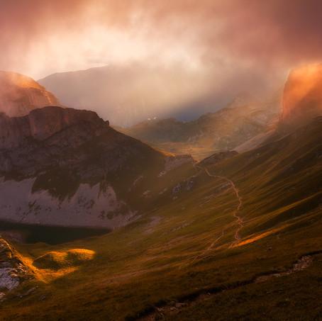 Sunset from the Rofanspitze, Rofan Mountains, Tyrol, Austria