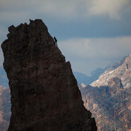 Climber, Cinque Torri, Dolomites, Italy