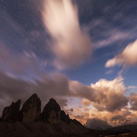 Tre Cime under Moon and Stars, Tre Cime di Lavaredo, Dolomites, Italy