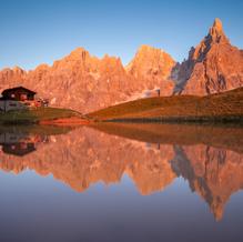 Baita Segantini at Sunset, Pale di San Martino, Dolomites, Italy