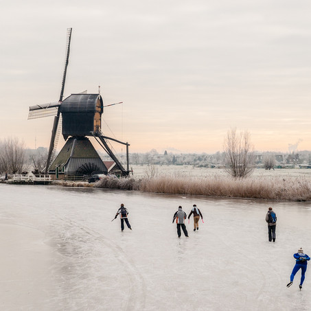 Winter in Holland, Kinderdijk, Zuid-Holland, The Netherlands
