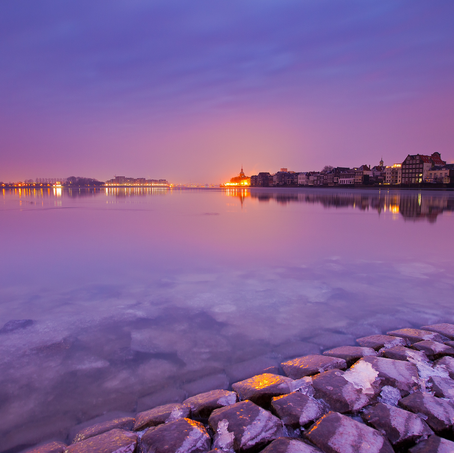 Purple Morning, Skyline Dordrecht, Oude Maas, The Netherlands, 2012