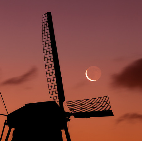 New Moon Old Mill, Kinderdijk, Zuid-Holland, The Netherlands