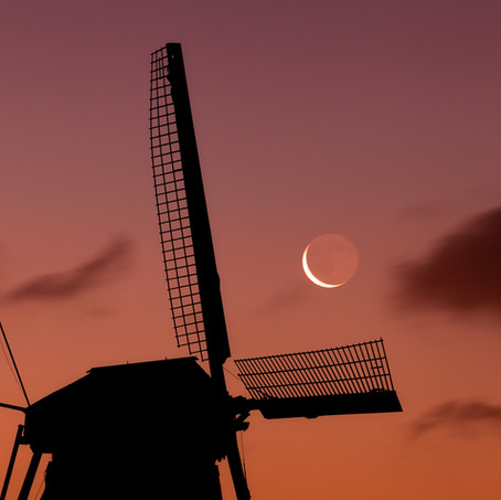 New Moon Old Mill, Kinderdijk, Zuid-Holland, The Netherlands