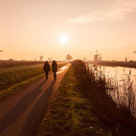 Hikers, Kinderdijk, Zuid-Holland, The Netherlands