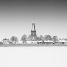 Church in Snow, Groede, Zeeuws-Vlaanderen, Netherlands, 2019