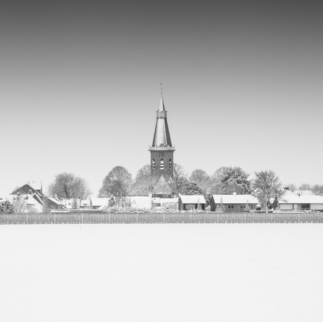 Church in Snow, Groede, Zeeuws-Vlaanderen, Netherlands, 2019