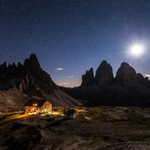 Moon, Tre Cime di Lavaredo, Sextener Dolomites, Italy