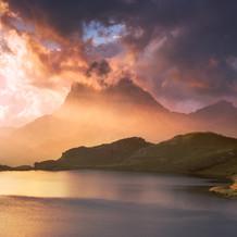 Sunrise, Lac Gentua with Ossau, Pyrenees, France
