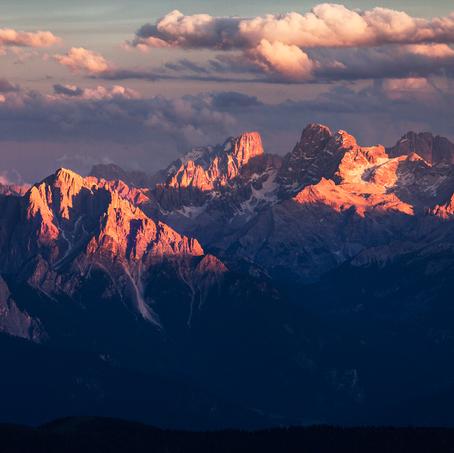 Dolomites at sunset, Antholz Valley, Italy