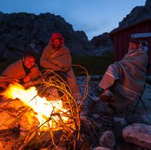 Camp fire at Bivouac Hut, Bivacco Feltre Bodo, Bellunese Dolomites National Park, Belluno, Italy