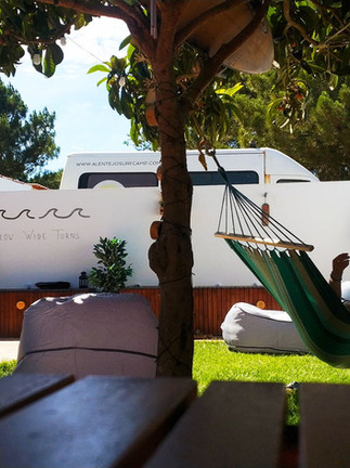Cozy patio for moning yoga or chill after surf