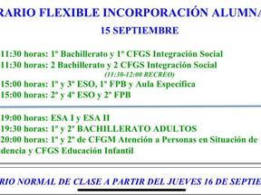 Publicado el horario de incorporación del alumnado para el miércoles 15 de septiembre
