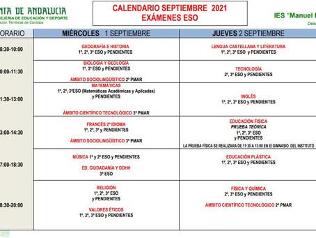 Publicado el calendario de los exámenes de septiembre 2021
