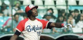 近鉄のラルフ・ブライアントは本塁打を放つ=1988年9月撮影、藤井寺球場 打撃フ