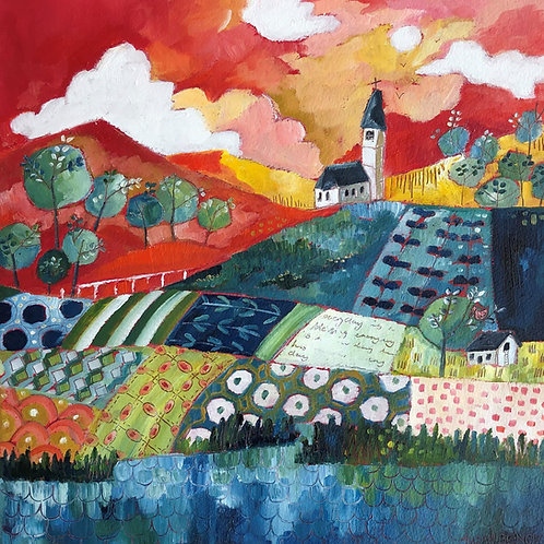 Church on a patchwork hill