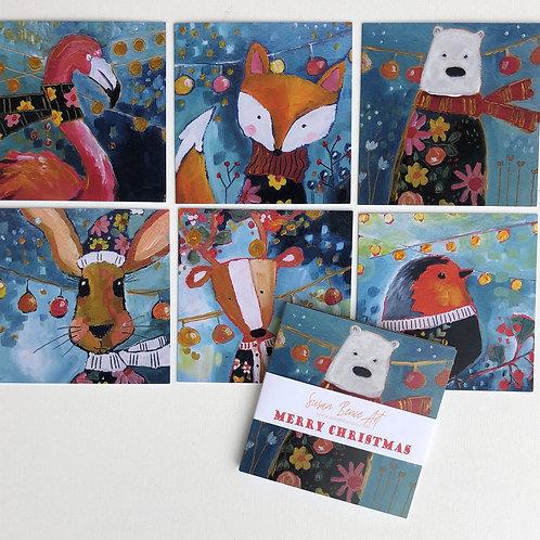 Animal Christmas Cards ( 6)