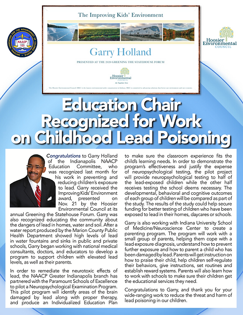 Garry Holland recognized for lead poisoning work
