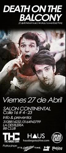 DEATH ON THE BALCONY en Bogotá!!