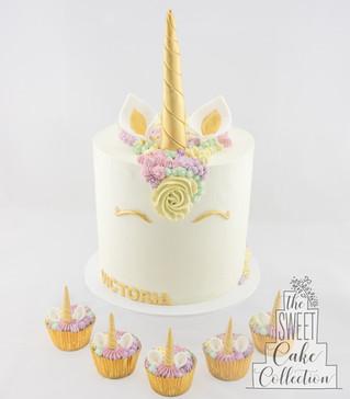 Buttercream Pastel Unicorn and Cupcakes