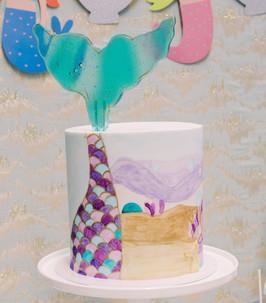 Mermaid Theme on Fondant with Sugar Tail