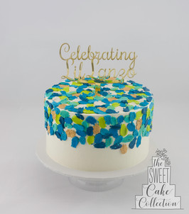 Blue, Green and Gold Texture on Smooth Buttercream